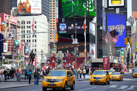 NEW YORK CITY -APR 30  Times Square, featured with Broadway Theaters and animated LED signs, is a symbol of New York City and the United States, April 30, 2012 in Manhattan, New York City  USA  Stock Photo