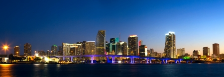 miami sunset: Downtown Miami skyline panorama and Biscayne Bay at dusk Stock Photo