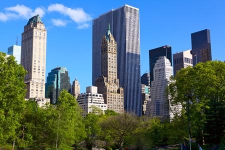 city park skyline: Central Park and Manhattan skyline, New York City Stock Photo