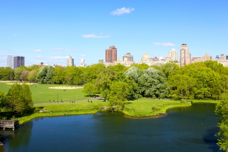 Central Park with Manhattan skyscrapers over Turtle Pond, New York photo