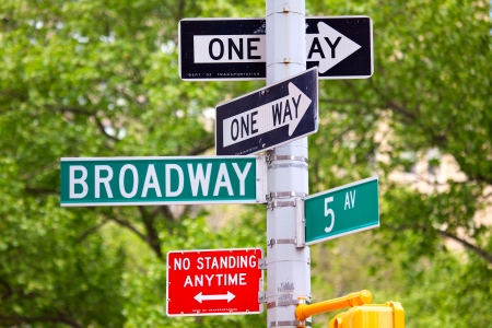 one way sign: 5th avenue and Broadway Street Signs, Manhattan, New York