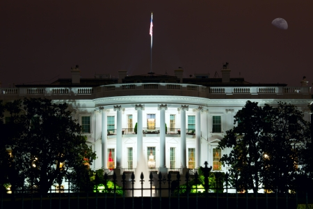 election night: Nighttime view of The White House in Washington DC, USA Stock Photo