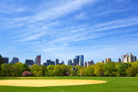 The Great Lawn at Central Park with Manhattan skyline, New York City Stock Photo - 14171495