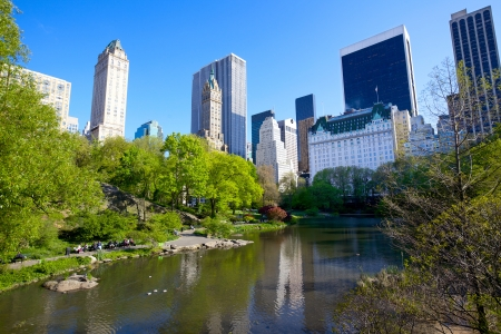 nyc: Manhattan skyline from Central Park, New York City Stock Photo