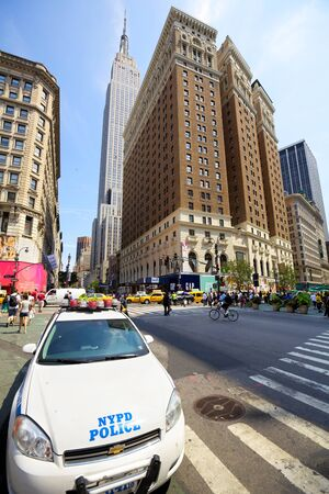 New York, New York, USA - July 6, 2012: Police car on the 34th Street and Herald Square in Midtown Manhattan