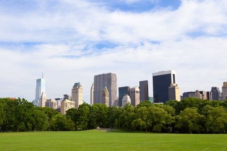 The Sheep Meadow at Central Park with Manhattan skyline, New York City photo