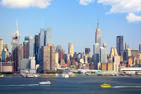 Manhattan Skyline with Empire State Building over Hudson River, New York City
