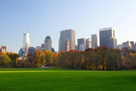 city park skyline: Central Park in autumn with Manhattan skyline, New York City
