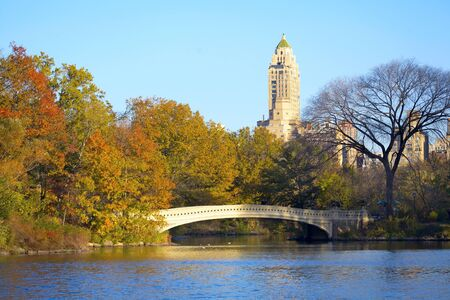 Bow Bridge at Central Park with colorful autumn trees, New York City Stock Photo - 16630555