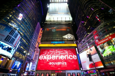 New York, New York, USA - December 17, 2012: Lots of illuminated billboards in 42nd Street near Times Square in Midtown Manhattan at hight