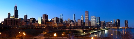 willis: Downtown Chicago panorama with Lake Michigan at sunset, IL, USA