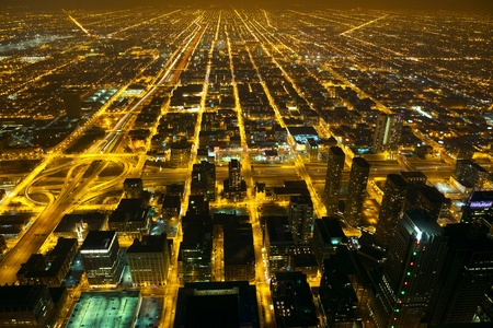 Aerial city night view of Chicago, IL, USA
