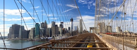 brooklyn: Panoramic view of Manhattan skyline from Brooklyn Bridge, New York City Stock Photo