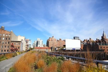 chelsea: High Line Park and Manhattan skyline, New York City Stock Photo