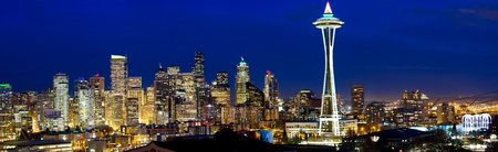 Seattle skyline panorama with Space Needle at dusk, WA, USA photo