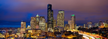 Seattle skyline panorama at dusk, WA, USA photo