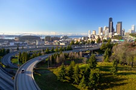 seattle skyline: Seattle skyline with traffic, WA, USA