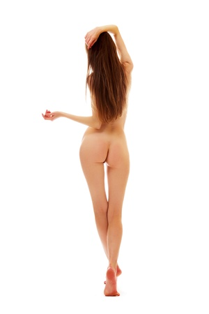 naked woman back: Walking young nude woman from behind on white