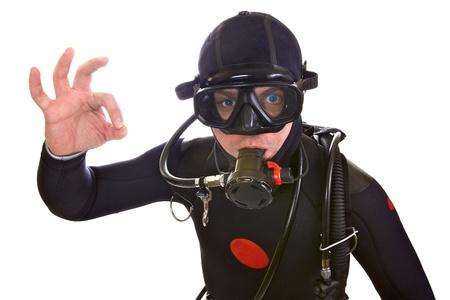 Portrait of Scuba Diver isoliert auf weiß