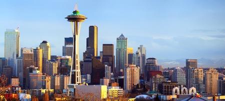 seattle: Sunset view of Seattle skyline, WA, USA Stock Photo