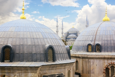 constantinople: Blue Mosque as seen from Haghia Sophia, Istanbul, Turkey