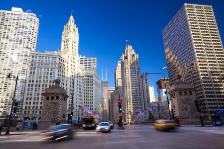 mile: Michigan Avenue Bridge and Magnificent Mile in Chicago, IL, USA