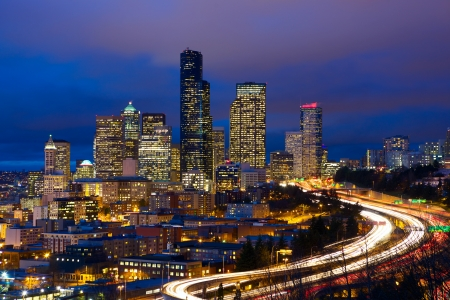 seattle: Seattle skyline with traffic at dusk, WA, USA