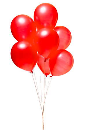 party balloons: Red balloons isolated on white