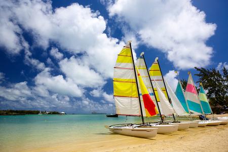 Beach with sailboats in Mauritius Island Stok Fotoğraf