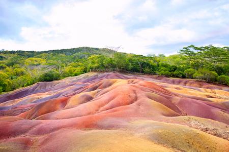 phenomenon: Chamarel Seven Coloured Earths, Mauritius Island Stock Photo