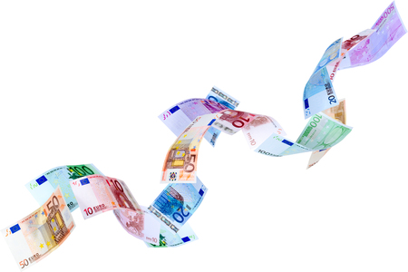 Falling Euro banknotes isolated on white  photo