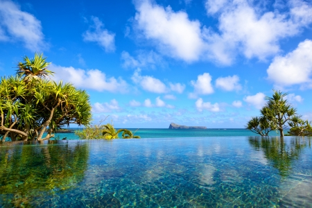 Swimming pool with Indian Ocean view in Mauritius Island