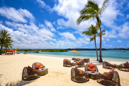 Relax area on tropical sandy beach in Mauritius Island