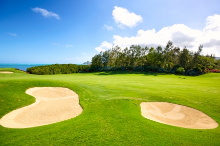 Golf course with sand bunkers in Mauritius Island