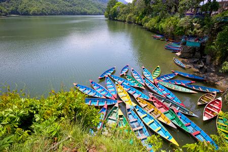 pokhara: Colorful boats on Phewa Lake, Pokhara, Nepal