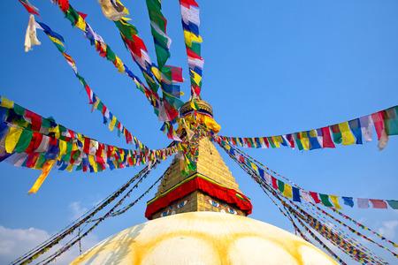ボダナート カトマンズ、ネパールでの祈りのフラグ 写真素材