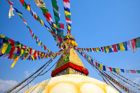 bodnath: Prayer flags on Boudhanath Stupa in Kathmandu, Nepal