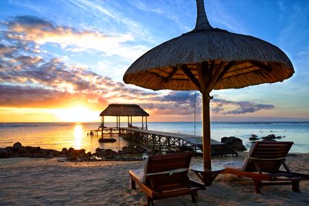 mauritius: Beautiful sunset in Mauritius Island