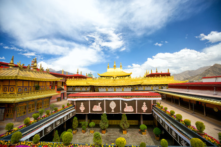 buddhist temple roof: Jokhang temple in Lhasa, Tibet Stock Photo