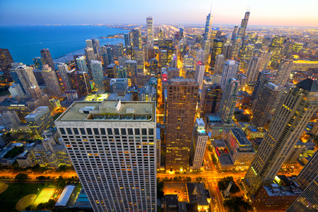 megalopolis: Aerial view of Chicago at dusk, IL, USA Stock Photo