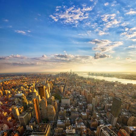 Aerial view of Manhattan at sunset, New York City Stok Fotoğraf
