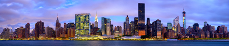 Manhattan Midtown skyline panorama before sunrise, New York photo