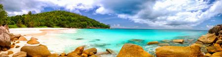 panoramic nature: Anse Georgette beach panorama in Praslin Island, Seychelles