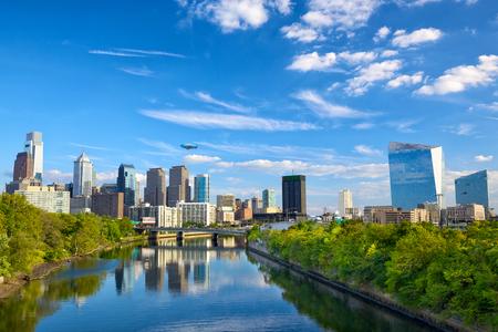 Horizon van de binnenstad en de Schuylkill Rivier in Philadelphia, Pennsylvania, Verenigde Staten