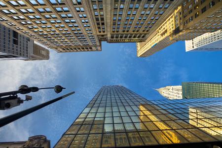 buildings city: Looking up Manhattan Midtown skyscrapers, New York City