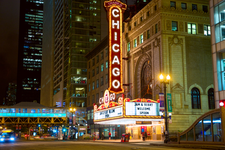 downtown: Chicago, Illinois, USA - September 15, 2014: The famous Chicago Theater on State Street at night