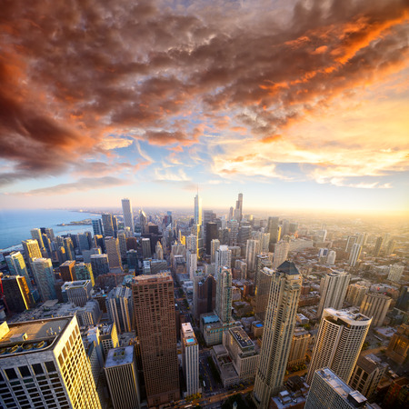 Aerial view of Chicago at sunset, IL, USA photo