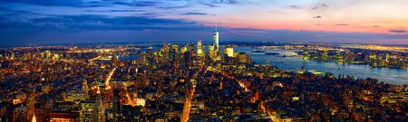 Aerial panoramic view of Manhattan at dusk, New York City photo