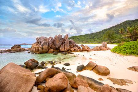 cocos: Granite rocks at Anse Cocos beach, La Digue Island, Seyshelles