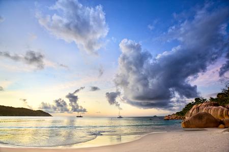 anse: Sunset time at Anse Lazio beach, Praslin, Seyshelles